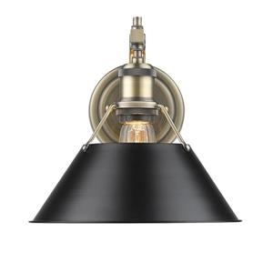 Golden Lighting Orwell 1 Light Wall Sconce in Aged Brass with a Black Shade