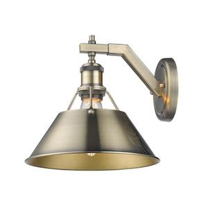 Golden Lighting Orwell 1 Light Wall Sconce Aged Brass with Aged Brass Shade