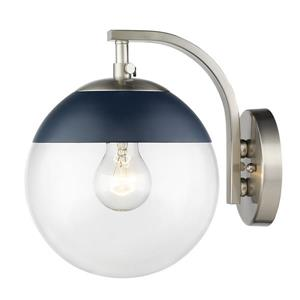 Golden Lighting Dixon Sconce in Pewter with Clear Glass and Navy Cap
