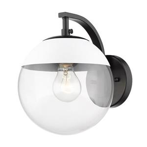 Golden Lighting Dixon Sconce in Black with Clear Glass and White Cap