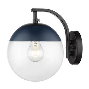 Golden Lighting Dixon Sconce in Black with Clear Glass and Navy Cap