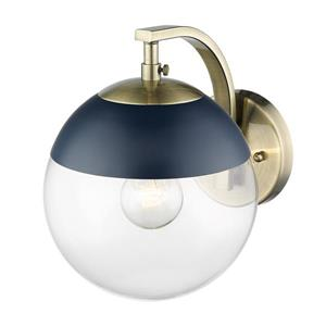 Golden Lighting Dixon Sconce in Aged Brass with Clear Glass and Navy Cap