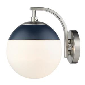 Golden Lighting Dixon Sconce in Pewter with Opal Glass and Navy Cap