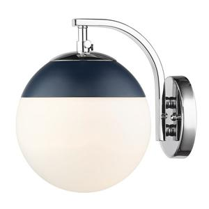 Golden Lighting Dixon Sconce in Chrome with Opal Glass and Navy Cap