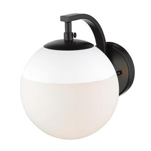 Golden Lighting Dixon Sconce in Black with Opal Glass and White Cap