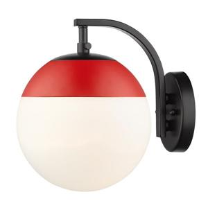 Golden Lighting Dixon Sconce in Black with Opal Glass and Red Cap