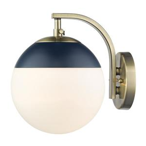 Golden Lighting Dixon Sconce in Aged Brass with Opal Glass and Navy Cap