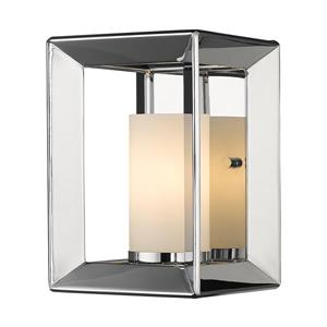 Golden Lighting Smyth 1 Light Wall Sconce in Chrome with Opal Glass