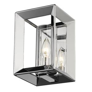Golden Lighting Smyth 1 Light Wall Sconce in Chrome with Clear Glass