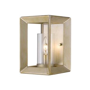 Golden Lighting Smyth 1 Light Wall Sconce in White Gold with Clear Glass