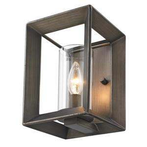 Golden Lighting Smyth 1 Light Wall Sconce in Gunmetal Bronze and Clear Glass