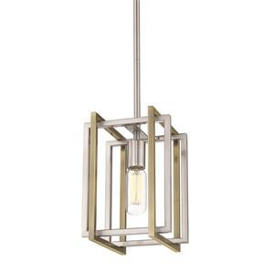 Golden Lighting Tribeca Mini Pendant Light - Pewter/Aged Brass