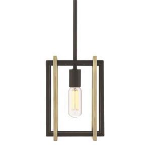 Golden Lighting Tribeca Mini Pendant Light - Black/Aged Brass