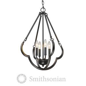 Golden Lighting Smithsonian 4-Light Pendant Light - Aged Bronze