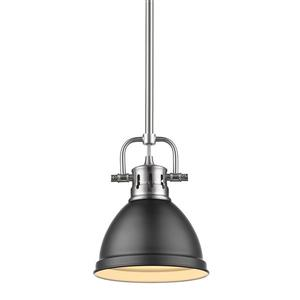 Golden Lighting Duncan Mini Pendant Light with Rod - Pewter