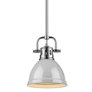 Golden Lighting Duncan Mini Pendant Light with Rod - Chrome