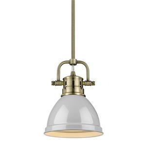 Golden Lighting Duncan Mini Pendant Light with Rod - Aged Brass