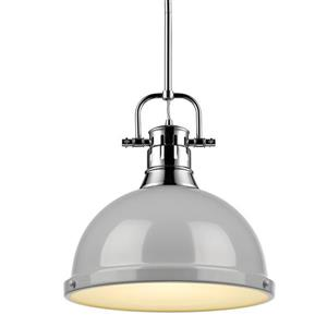 Golden Lighting Duncan 1-Light Pendant Light with Rod - Chrome