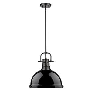 Golden Lighting Duncan 1-Light Pendant Light with Rod - Black