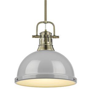 Golden Lighting Duncan 1-Light Pendant Light with Rod - Aged Brass