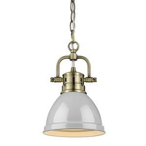 Golden Lighting Duncan Mini Pendant Light with Chain - Aged Brass