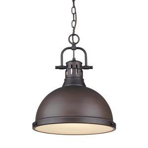 Golden Lighting Duncan 1-Light Pendant Light with Chain - Bronze