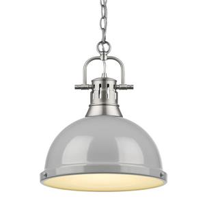 Golden Lighting Duncan 1-Light Pendant Light with Chain - Pewter