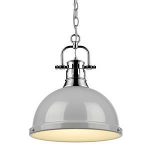 Golden Lighting Duncan 1-Light Pendant Light with Chain - Chrome
