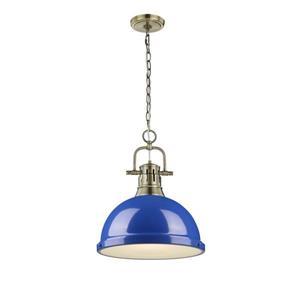 Golden Lighting Duncan 1 Light Pendant Light with Chain - Brass
