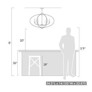 Golden Lighting Colson PW Linear Pendant Light - Pewter