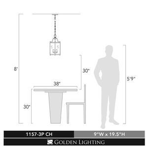 Golden Lighting Payton 3 Light Pendant Light - Chrome