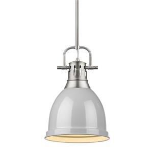 Golden Lighting Duncan Small Pendant Light with Rod - Pewter