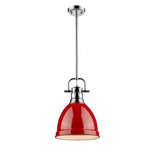 Golden Lighting Duncan Small Pendant Light with Rod - Chrome