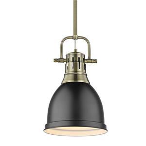 Golden Lighting Duncan Small Pendant Light with Rod - Aged Brass