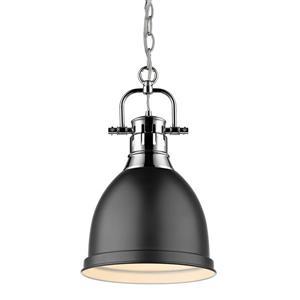 Golden Lighting Duncan Small Pendant Light with Chain - Chrome