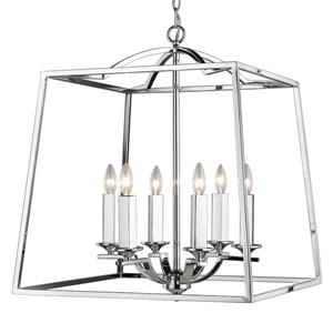 Golden Lighting Athena 6-Light Pendant Light - Chrome