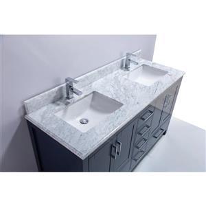 GEF Willow Vanity with Carrara Marble Top, 60-in RoyalBlue