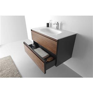 GEF Sage Vanity with Solid-Surface Top, 36-in Walnut