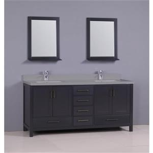 GEF Sienna Vanity Set with two mirrors, Quartz Top, 72-in grey