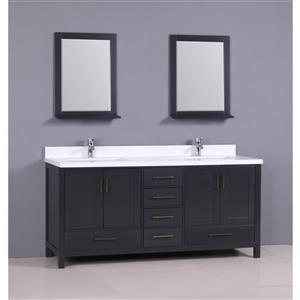 GEF Sienna Vanity Set with two mirrors, Quartz Top, 72-in grey