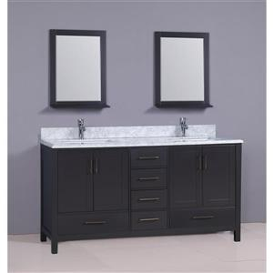 GEF Sienna Vanity Set with two mirrors, Marble Top, 72-in grey