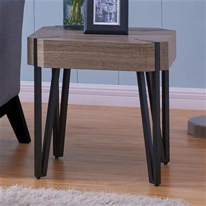 Worldwide Home Furnishings End table - 19.75-in x 19.75-in - Composite - Brown
