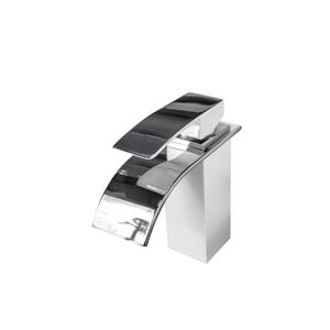 Sera Bathroom Vanity Faucet Waterfall, white and chrome
