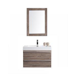 GEF Rosalie Vanity Set with Mirror, 30-in Soft Oak