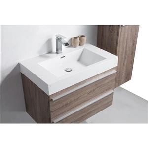 GEF Rosalie Vanity Set with Medicine Cabinet, 36-in Soft Oak
