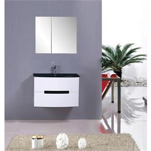GEF Leila Vanity Set with Medicine Cabinet, 30-in White