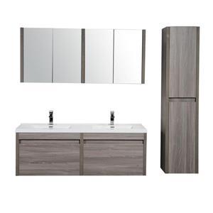GEF Selena Vanity Set with Medicine Cabinet, 60-in Maple Grey