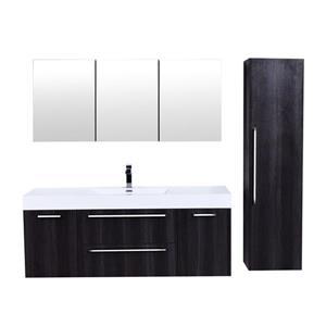 GEF Amira Vanity Set with Medicine Cabinet, 60-in Distressed Oak