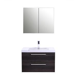 GEF Amira Vanity Set with Medicine Cabinet, 30-in Distressed Oak