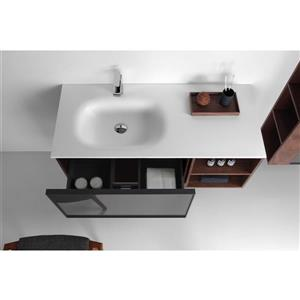GEF Sage Vanity with Solid-Surface Top, 48-in Walnut